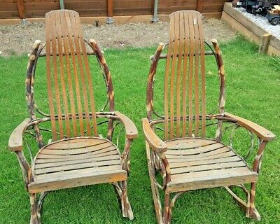 2 Antique Adirondack Twig And Oak Rocking Chair