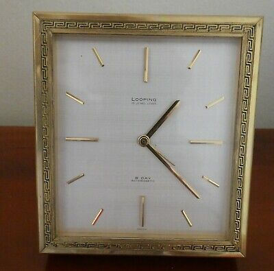 Small vintage  heavy 8 day looping alarm  desk clock superb condition