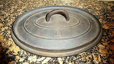 Rare Antique Cast Iron Oval Oven Roaster LID COVER Only Gate Marks #14 Unmarked