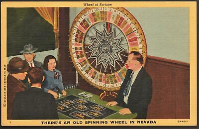OLD SPINNING WHEEL OF FORTUNE**1940's LINEN**LAS VEGAS NEVADA Post Card E 93