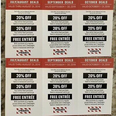 3 TGI FRIDAYS Coupons: 20% Off Order, No Cost Entree w/Purchase, Exp