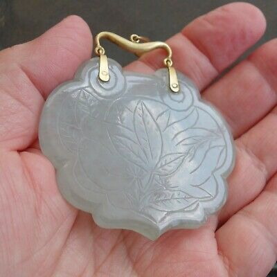"Chinese Carved Jade Pendant 14k Yellow Gold 38.84g Signed ""L C"""