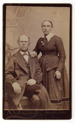 Cdv Photo Old Couple Adams Decorah Iowa Circa 1870'S-1880'S