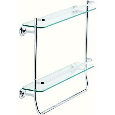 Delta 20 in. Double Glass Shelf with Towel Bar in Polished Chrome