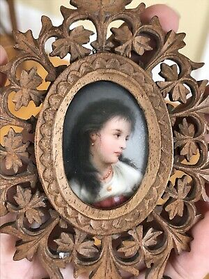 Antique 1800's Portrait Miniature Porcelain Plaque Painting Of A Woman French