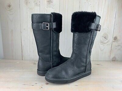 773d16bca46 UGG AUSTRALIA WILOWE Water Resistant Leather Cuff Boot Black Buckle ...