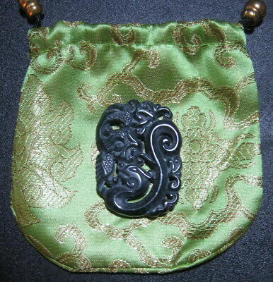 Black Green Hetian Jade Hollow Out Carving Dragon Phoenix Amulet with Silk Pouch