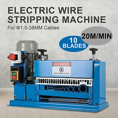 10 Blades Electric Wire Stripping Machine Cable Stripper 1.5~38mm Copper Recycle