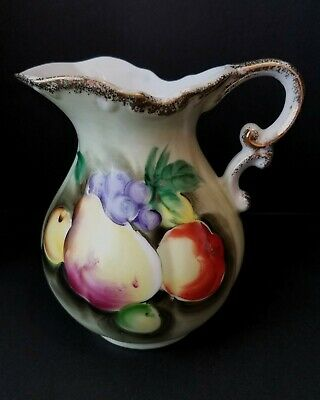 Vintage Norleans Japan Hand Painted Pitcher- Fruit Themed- Beautiful- Used