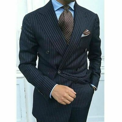 Black Men Pinstriped Suits Double-breasted Wide Peak Lapel Formal Groom Tuxedos
