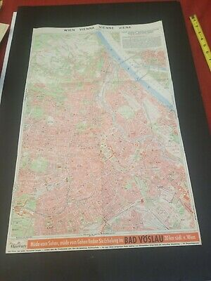Original Antique City Map Of Vienna / Wien /Vienna/Viena Austria Excellent Cond