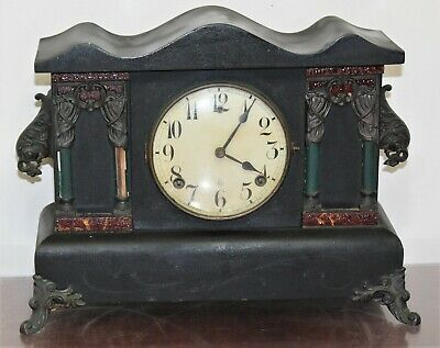 "Antique 16"" Sessions 8 Day Black Mantel Clock - Wm L GILBERT CLOCK CO"