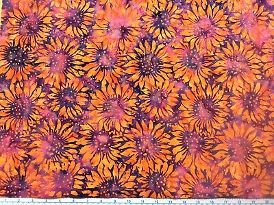 BATIK Orange sunflowers on violet background Patchwork Quilting Fabric FQ or M