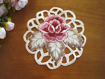 Again @ Beautiful Pink Rose Embroidery Cutwork Round Ivory Doily 14cm