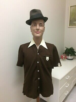 Original Vintage Men's 50s 60s Shirt Bisley Crimplene  XL Two Tone Colours Retro