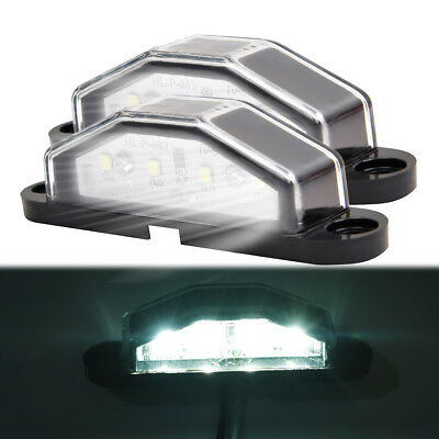 2x 4 LED Rear Tail License Number Plate Light Truck Trailer Bright White CY UK