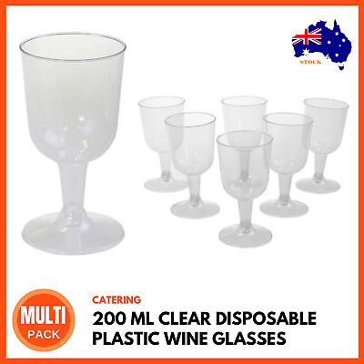 200 ML CLEAR DISPOSABLE PLASTIC WINE GLASSES Red White Wine Goblet Cups BULK