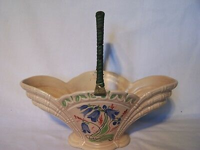 Vintage Art Deco Burleigh Ware Vase Bowl With Handle Blue Flowers England
