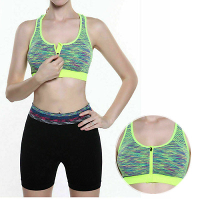 Women's Ladies Front Zip Sports Bra Push Up High Impact Wireless Padded Vest Top
