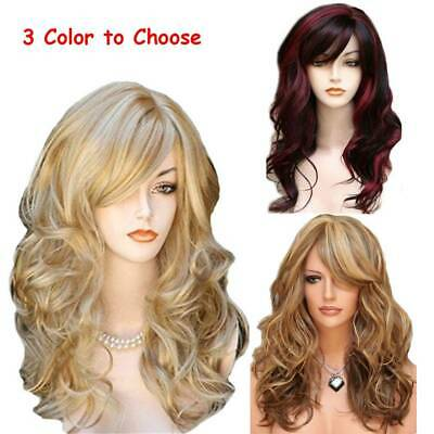 Women's Long Curly Hair Full Wig Heat Resistant Synthetic Hair Blonde Wigs Ombre