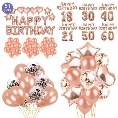 16/18/21st/30/40/50/60th Foil Confetti Latex Happy Birthday Balloon Party Decor