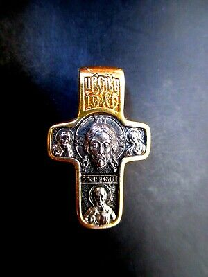 925 Silver Gold Orthodox Cross Holy Face Of Jesus Mother Of God St. Nicholas