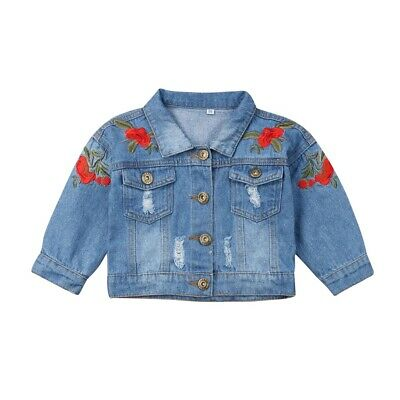 AU Baby Girls Kid Denim Jacket Embroidery Button Jean Coat Top Outerwear Clothes