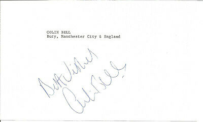 Football Autograph Colin Bell Manchester City Signed Paper Piece F1465