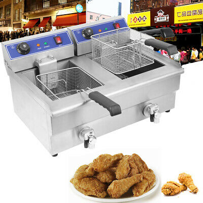 Large Commercial Deep Fryer Electric Twin Basket 19 Litre Double Tank Fish Chips
