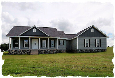Ranch House Plans 1842 SF 3 Bed 2 Bath + Office - Open Floor Plan  (Blueprints)