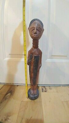 """Solid Wood Hand Carved Tribal Woman  Sculpture 20.5"""" tall from ghana"""
