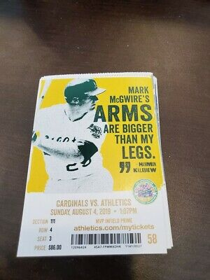 Oakland Athletics St. Louis Cardinals MINT Season Ticket 8/4/19 2019 MLB Stub