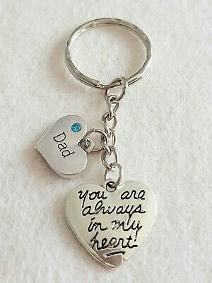 In loving memory keyring keychain always in my heart dad charms blue love keep