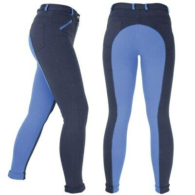 Womens Ladies Girls Jodhpurs Two Tone Jodphur Black/Blue 24'' - 34'' Waist