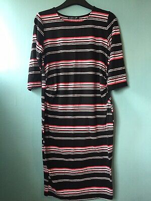 Black White And Pink Striped Maternity Bodycond Dress. Size M. Boohoo.