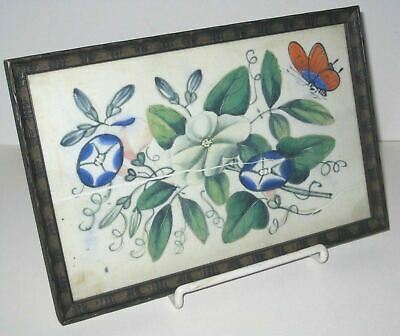 Antique Asian Chinese Oil Paintings On Rice Paper Floral Flowers & Butterfly
