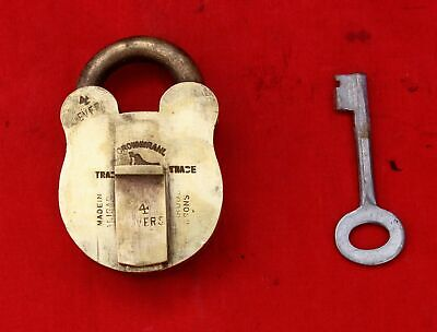 Vintage Crownbranl Bird Holding Key TM Handcrafted 4 Levers Solid Brass Padlock
