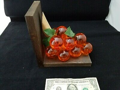 Vintage Lucite glass Acrylic Grape Cluster Driftwood orange lucit wooden Bookend