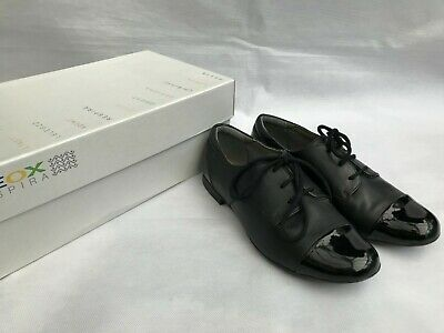 GEOX Respira Girls Jr Plie K Derby Leather School Shoes Black SIZE UK 3 /EU 36