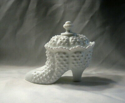 Fenton Art White Milk Glass Hobnail Ladies Shoe Slipper Lidded Candy Dish 6.25""