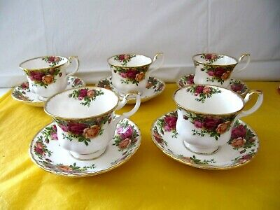 set of 5 Royal Albert Old Country Roses Tea Cups&Saucers,  ~SECONDS~