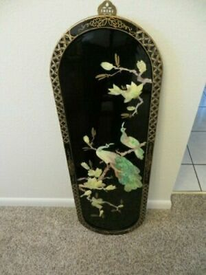 Black Lacquer Chinese/Oriental Asian Wall Plaque/Picture Art Mother of Pearl