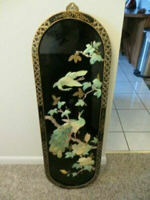 Black Lacquer Mother of Pearl Chinese Oriental Asian Wall Plaque Picture Art