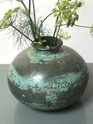 Antique Vintage Indian Metal Riveted Water Pot Bowl. Painted Rivet Joints. Lota.