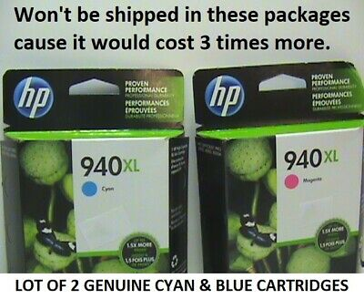 Lot of 2 New Sealed HP 940 XL ink cartridges (Cyan & Magenta) 8000 8500 8500A