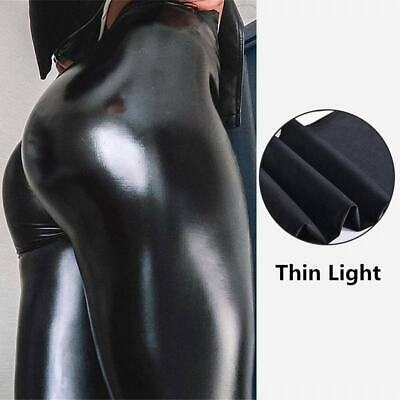 Women Wet Look Stretchy Leather Pants Skinny Leggings Push Up Pencil High Waist