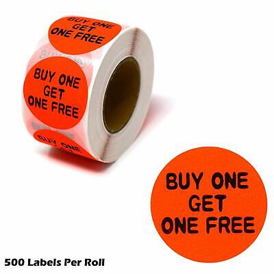 Buy One Get One FREE Fluorescent Orange Self Adhesive Label Circle Sticker