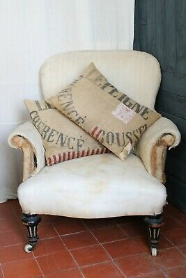 Antique Deconstructed Chair C.19th Victorian Armchair Steel& Timber Frame