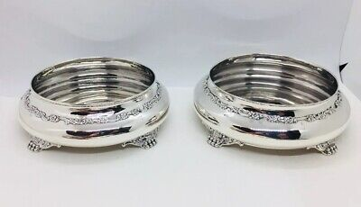 Tiffany & Co Antique Pair Sterling Silver Floral Paw Footed Wine Bottle Coasters