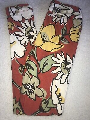 LuLaRoe Kids Leggings L/XL Large XLarge NWT Rust Orange / Yellow Green Floral
